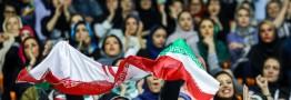 نحوه حضور زنان در مسابقه والیبال ایران و بلژیک