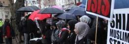 شعار مرگ بر آل سعود در برابر سفارت عربستان در قلب لندن