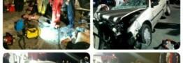 برخورد پژو 405 با دیواربتونی در بزرگراه شهید بابایی تهران 2 کشته و 3 مصدوم داشت